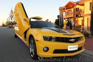 Bumblebee Camaro Transformer Stretch Limo. The Ultimate muscle car, perfect for the Bucks Night Perth celebrations.