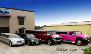 Perth limo hire fleet displaying the Pink limo Perth (Hummer), Candy Red Hummer Limo Perth, Black Chrysler 300C (Lambo Doors) and the Silver Chrysler 300C (Lambo Doors)