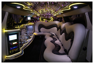 Interior of luxury stretch Chrysler 300C limousine Perth WA