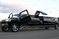 Black Hummer Limo with centre Jet Door H210 longest Hummer in WA by SHowtime Limousines Perth. Roger 0433 985 533