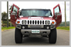 Hummer grille and Lambo Doors on Showtime Limousines Perth Candy Red Hummer Limousines