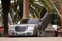 Silver Limousine Perth Chrysler stretch wedding cars Perth with Lambo Doors Showing in Perth WA