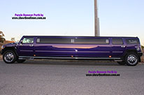 Side profile of the Purple Perth Hummer Stretch Chauffeured Limousine for Hire 0433 985 533