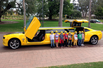 Limo Party Perth hire Bumblebee Camaro Stretch Transformer Limousine birthday Party.