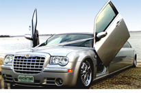 Lambo Door Boatramp photo of the 300C Silver Wedding limo