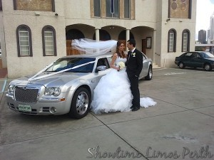 Limousines Hire Perth wedding Car Perth - Silver Chrysler Limo in Fremantle WA