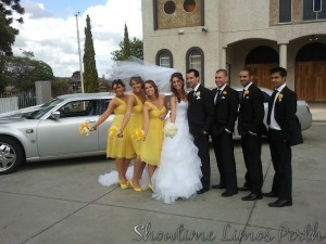 Limousines Hire Perth in a Gorgeous bridal party photo with the Silver Chrysler Limousine.